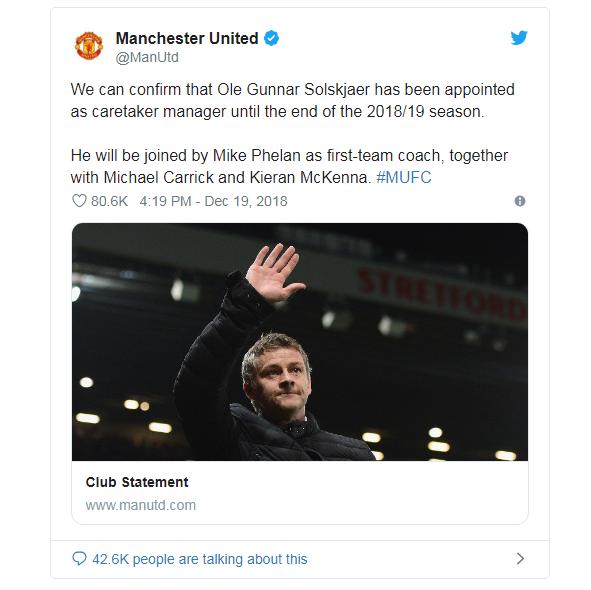 Resmi, United Tunjuk Solskjaer Sebagai Pelatih Sementara